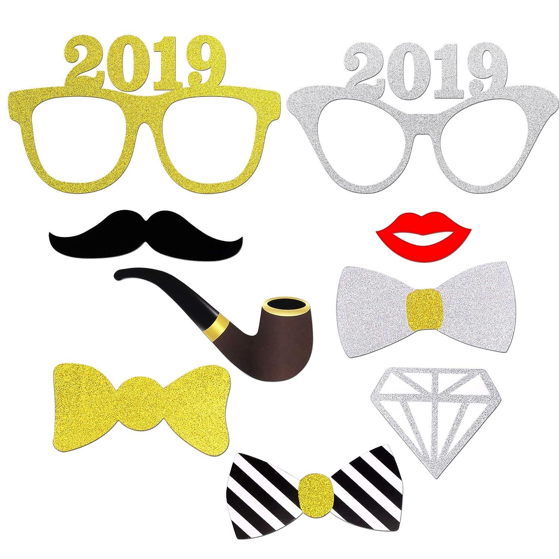 Konsait Año 2019 Photo Booth Props Cabina de Fotos Accesorios Photocall 50pcs Divertido DIY Kit para Adultos Niños Mujeres Hombre Máscaras Sombrero lunettes ...