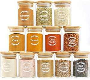 Glass Jar with Bamboo Lids Urban Green, Spice Jar Set with Labels, Glass Spice Jar bottles, Glass Canisters with Airtight Lids, Small Food Storage Containers for herbs, spices and dry food, Kitchen & Pantry Organization (12 Sets of 6oz)