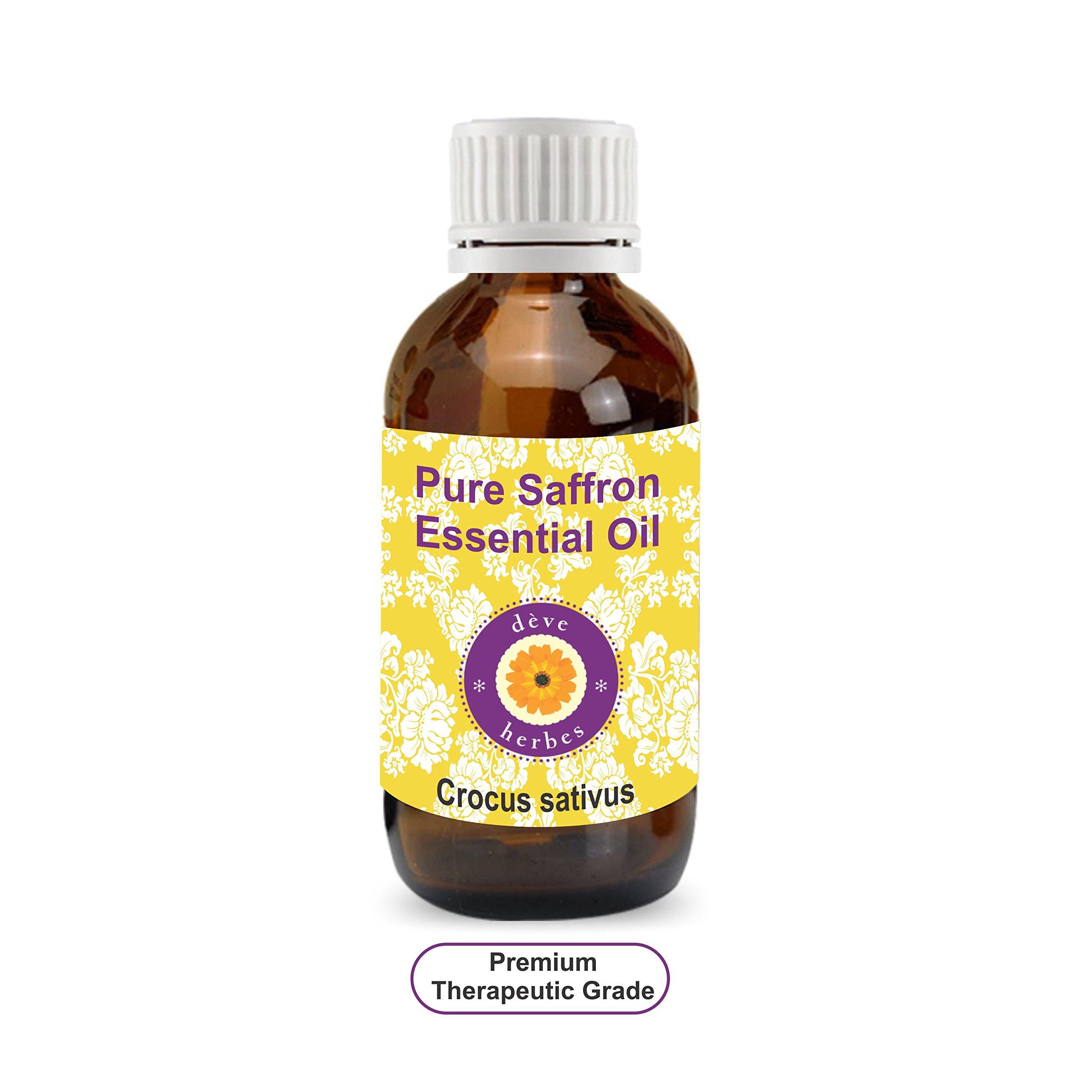 Deve Herbes Pure Saffron Essential Oil (Crocus sativus) 100% Natural Therapeutic Grade Steam Distilled 10ml (0.33 oz) by Deve Herbes