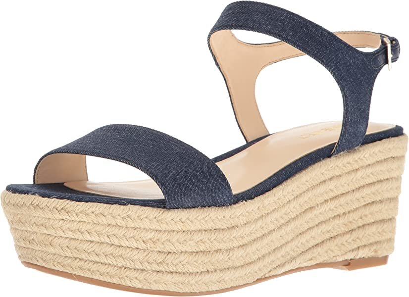 21772064f369 Nine West Women s Flownder Denim Wedge Sandal Blue 9 ...