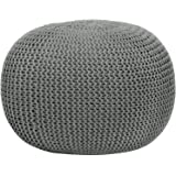 Urban Shop Round Knit Pouf - Home Decor - Living or Bedroom Furniture - Contemporary Style - Polyester - Can Be Used As Seating, a Footrest or a Fun Accent Piece (Gray)