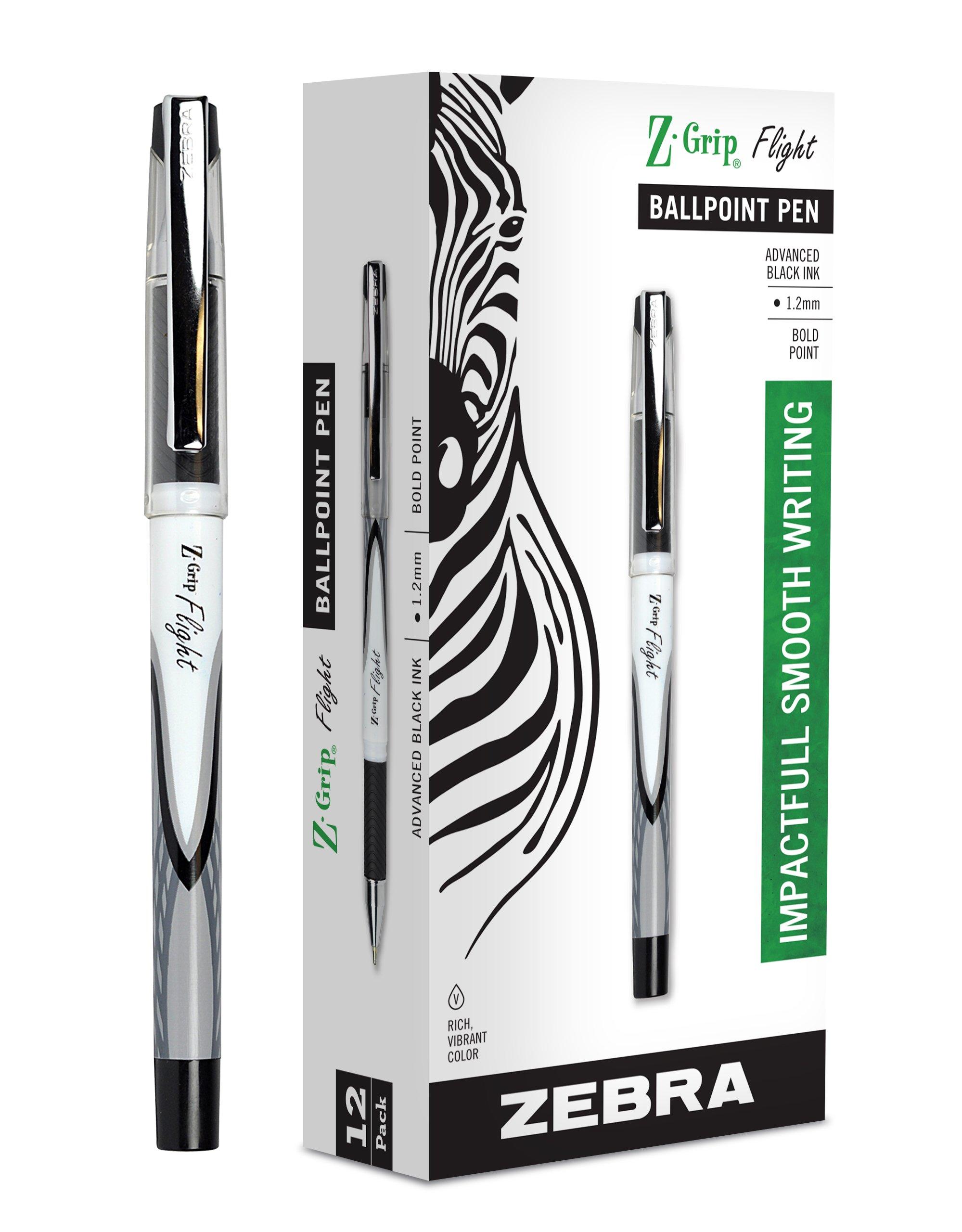 12 x Zebra Pen Z-Grip Flight Stick Ballpoint Pen, Bold Point