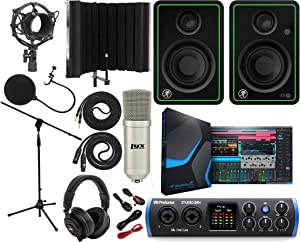 """PreSonus Studio 24c 2x2 USB Type-C Audio/MIDI Interface with CR3-X Creative Reference Multimedia Monitors and 1/4"""" Instrument Cable and Microphone Isolation Shield"""