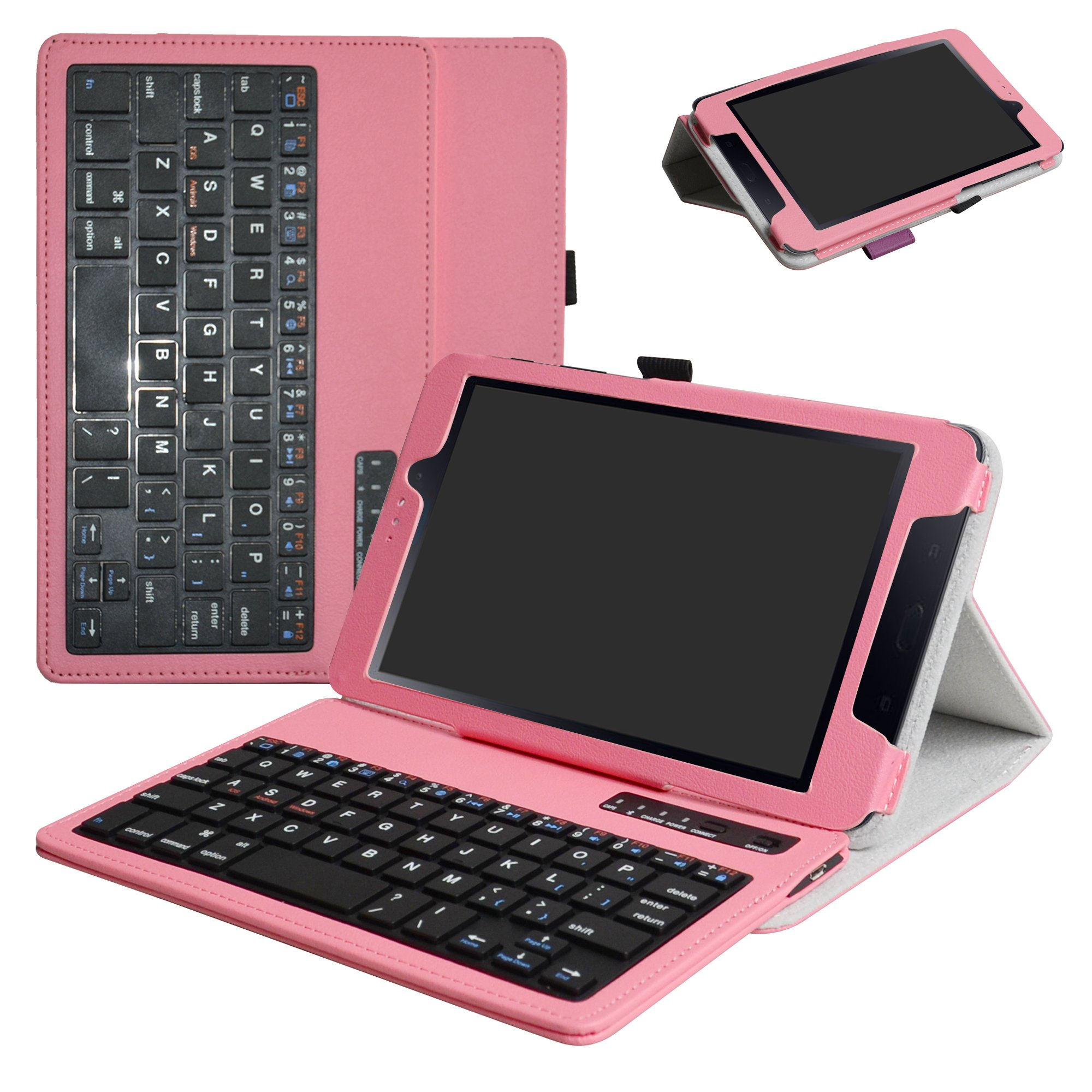 Samsung Galaxy Tab A 8.0 2017 Bluetooth Keyboard Case,Mama Mouth Slim Stand PU Leather Cover with Romovable Bluetooth Keyboard for Samsung Galaxy Tab A2 S/Tab A 8.0 SM-T380 T385 Tablet,Pink