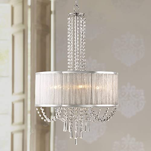 Ellisia Chrome Chandelier 19 3/4″ Wide Modern Clear Crystal Strands Organza Drum Shade Fixture