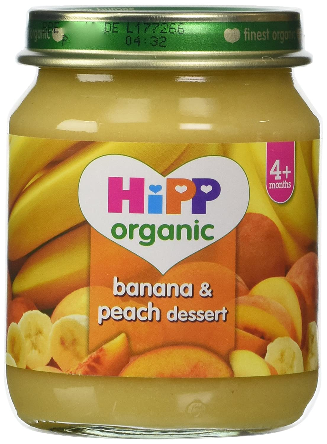 HiPP Organic Stage 1 From 4 Months Banana and Peach Dessert 6 x 125 g (Pack of 2, Total 12 Pots) HiPP Germany or Austria