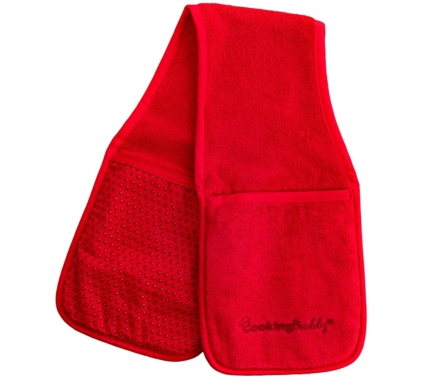 Campanelli's Cooking Buddy - Professional Grade All-in-One Pot Holder, Hand Towel, Lid Grip, Tool Caddy, and Trivet. Heat Resistant up to 500ºF. As Seen On Facebook (Scarlet Red)