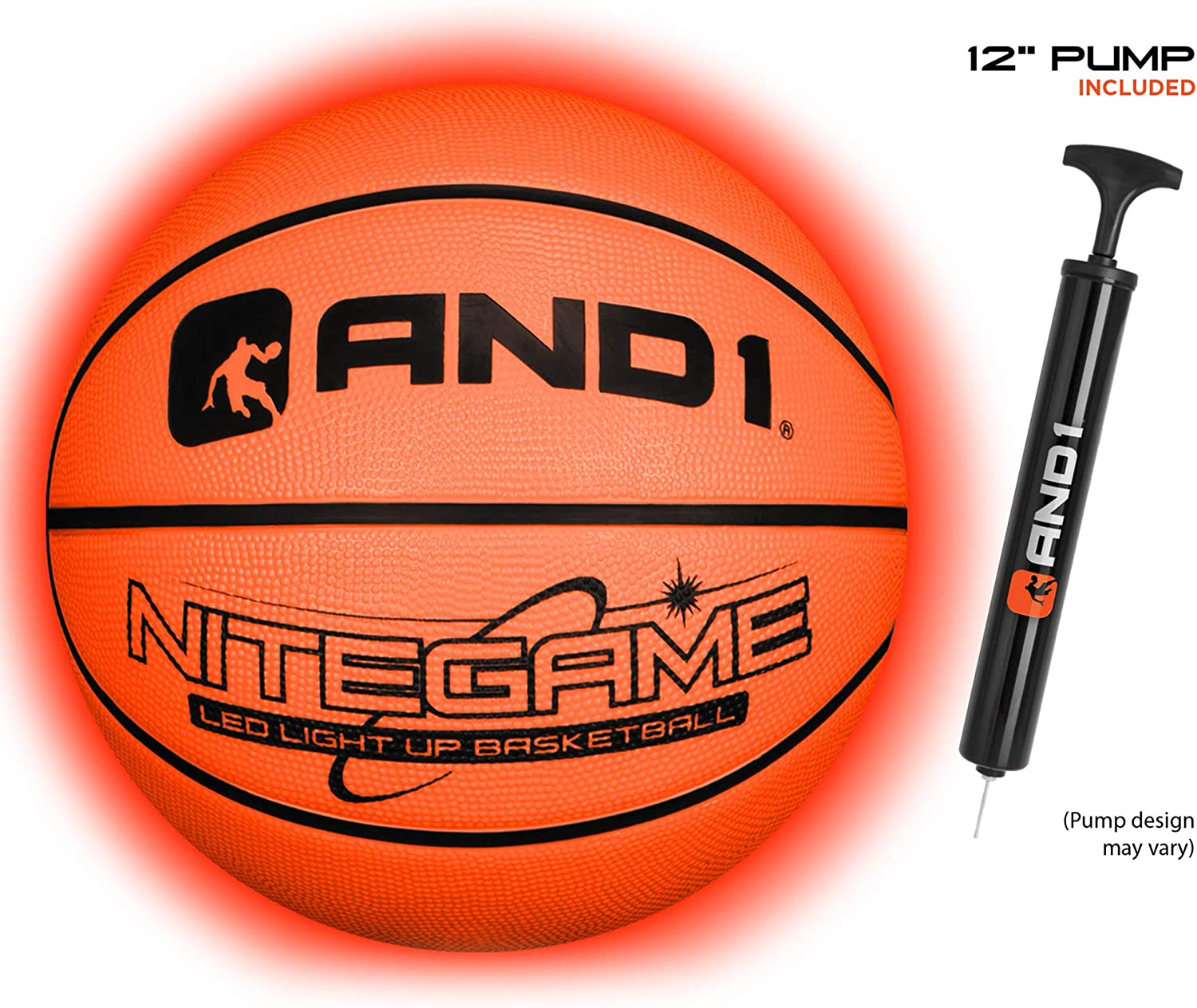 Teens and Adults AND1 LED Light Up Basketball Impact Activated Glowing Basketball for Kids Deflated w//Pump Included : Nitegame Glow in The Dark Ball- Night Ball for Indoor and Outdoor Games