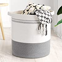 """Goodpick Cotton Rope Basket, 18""""×16"""" Large Laundry Hamper Basket Woven Wicker Basket for Throws Pillows Storage Bin with…"""
