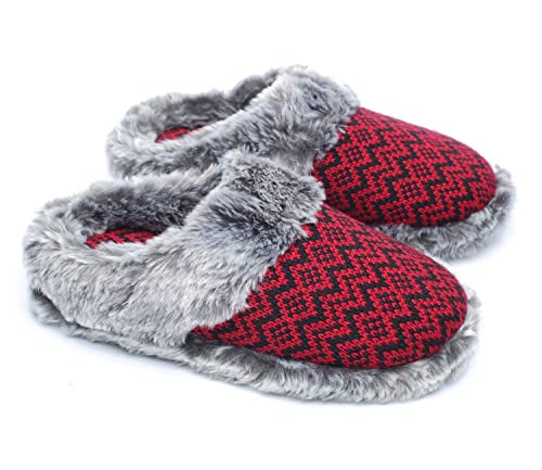 13f3ca4037a8f ofoot Women's Cashmere Knit Slippers,Faux Fur Memory Foam Indoor/Outdoor  Shoes: Amazon.ca: Shoes & Handbags
