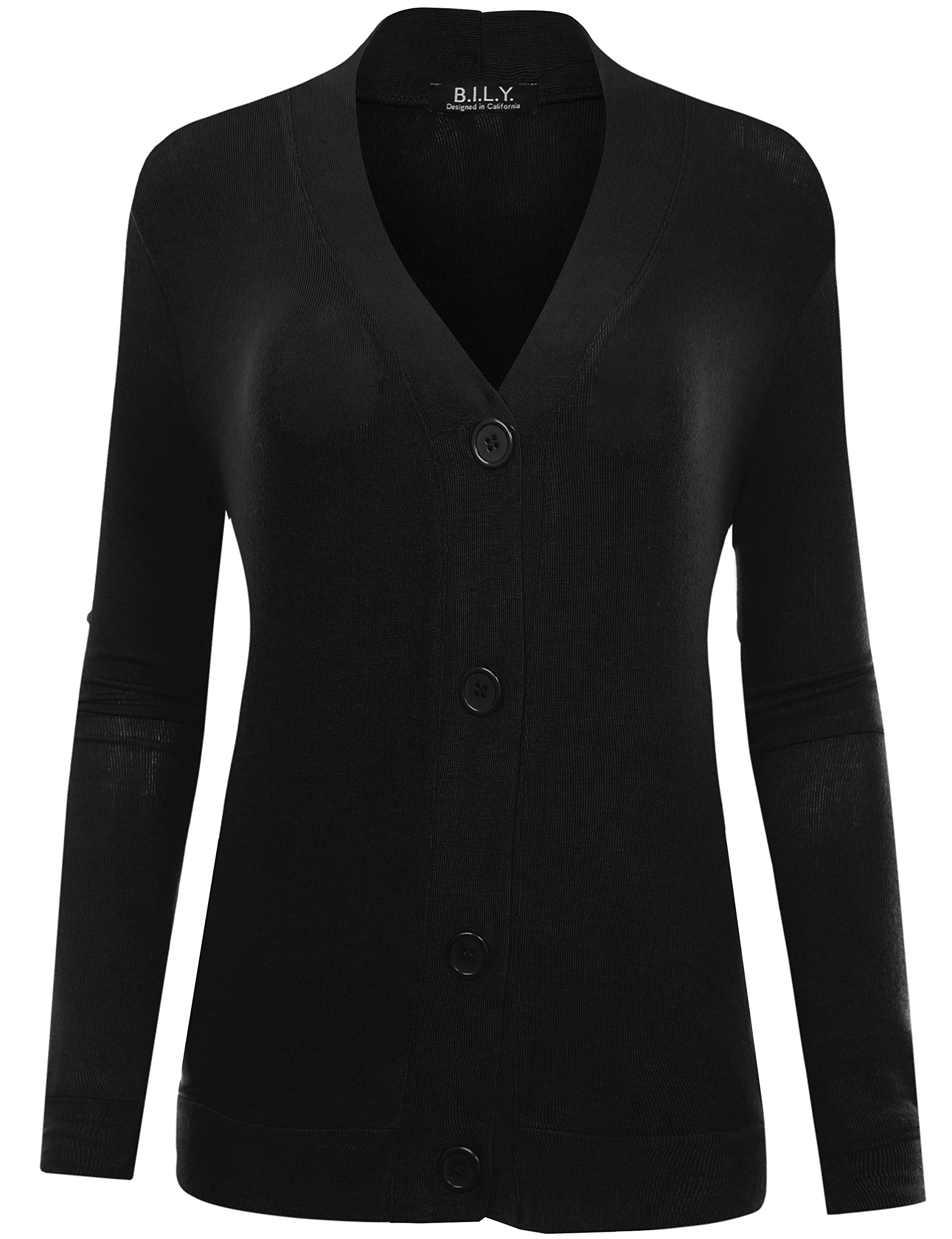 BH B.I.L.Y USA Women's Button Sweater Cardigan with Pockets Black Small
