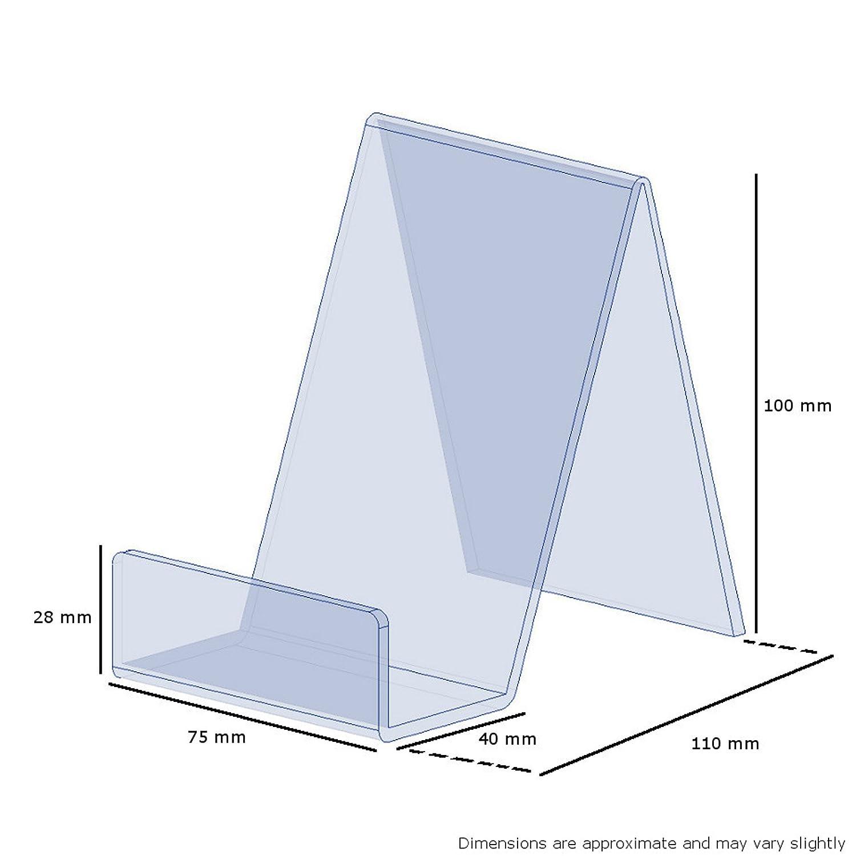 EPOSGEAR Piccolo Trasparente Perspex Acrilico plastica Libro espositori e Supporto/ Piatti in Negozi o a casa. telefoni cellulari /Ideale per Libri Tablet ECC