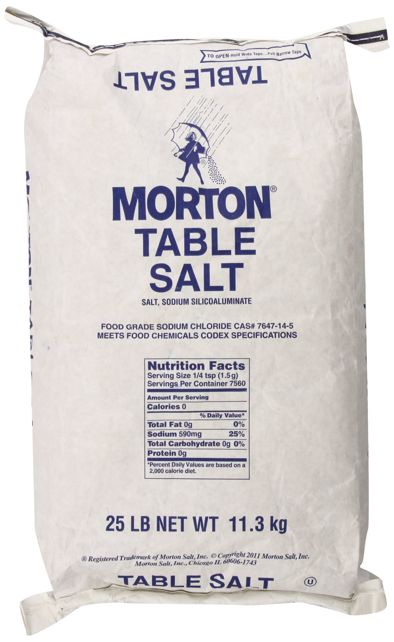 MORTON Table Salt, Bulk Salt, Foodservice, Great for Restaurants, Excellent for Cooking, Baking and Seasoning, Non Iodized Salt, Iodide Free, 25 Pound by Morton
