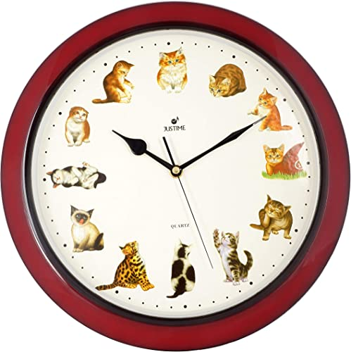 ISHIWA 14-inch Unique Animals Family Quality Wall Clock Silent Non-Ticking Movement, Home Decor W82016-D Cats