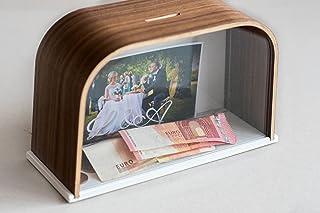Salvadanaio in legno personalizzato, salvadanaio a forma di maialino, in legno, scatola, portavalori, risparmio box con modifica immagini, fondo di nozze, fondo box Wallnut EWART WOODS