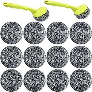 18 PCS Stainless Steel Sponges Scrubbers Cleaning Ball Utensil Scrubber Metal Scrubber Scouring Pads Ball for Pot Pan Dish Wash Cleaning for Removing Rust Dirty Cookware Cleaner with Handle (18 Pack)