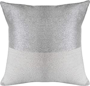 MOTINI Decorative Pillow Cover 100% Polyester White and Silver Woven Throw Pillows for Couch Sofa Bed Decor 18
