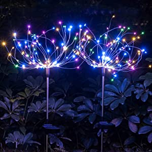 Outdoor Solar Garden Decorative Lights-Mopha Solar 120LED Powered 40Copper Wiress Stake String Landscape Light-DIY Flowers Fireworks Christmas Party Decor (Multi-Colored(Upgraded 2 Pack))