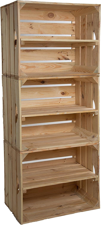 Estantería de cajas Johanna, juego de 3,con una tabla en medio, cajas de manzanas o vino, de madera maciza, multiusos, 50x 40x x 30cm (naturales con tabla longitudinal)