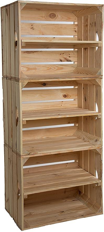 Estantería de cajas Johanna, juego de 3, con una tabla en medio, cajas