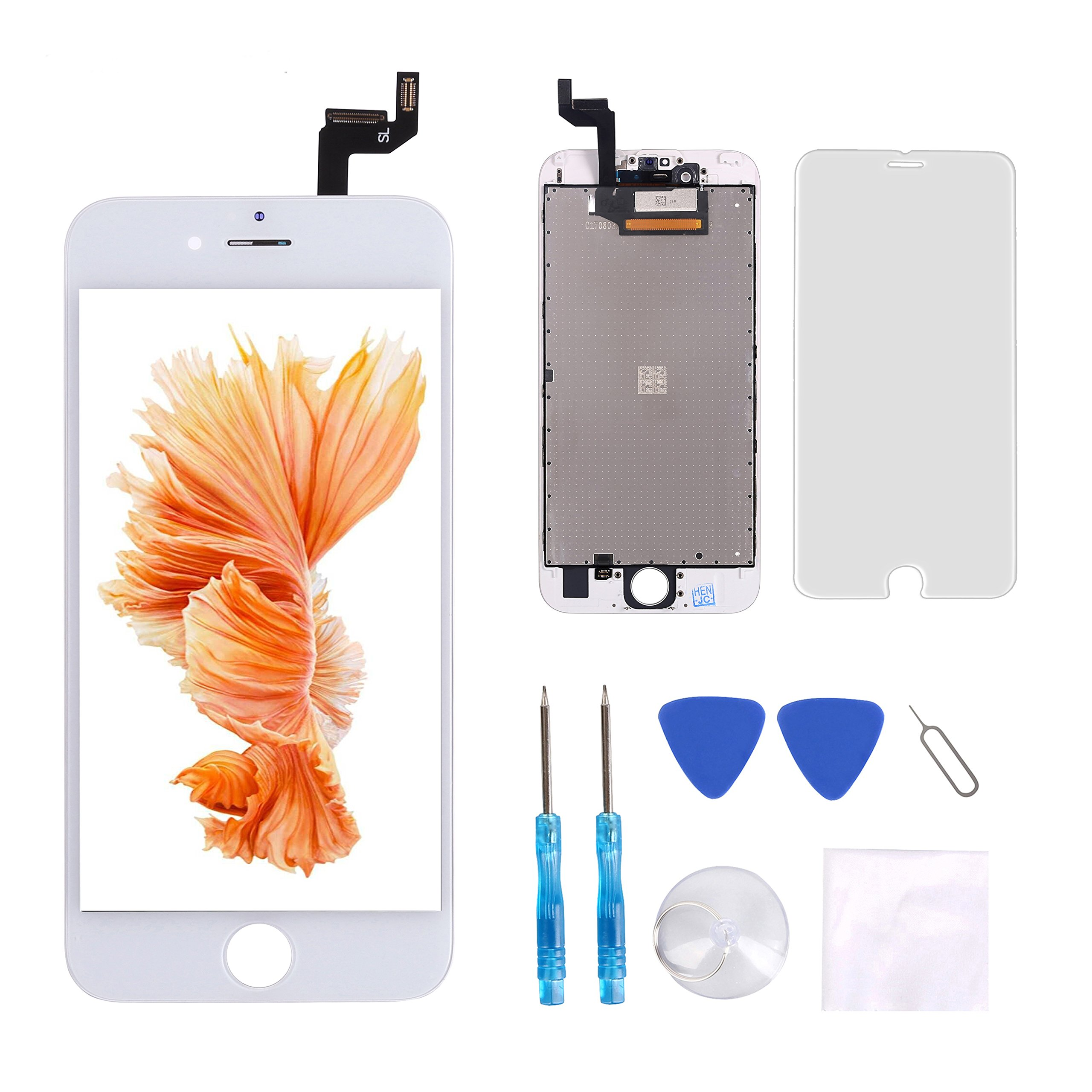 iPhone 6s Screen Replacement White Giorefix LCD Touch Screen Display Assembly Digitizer Repair Kit Screen Protector Repair Tools