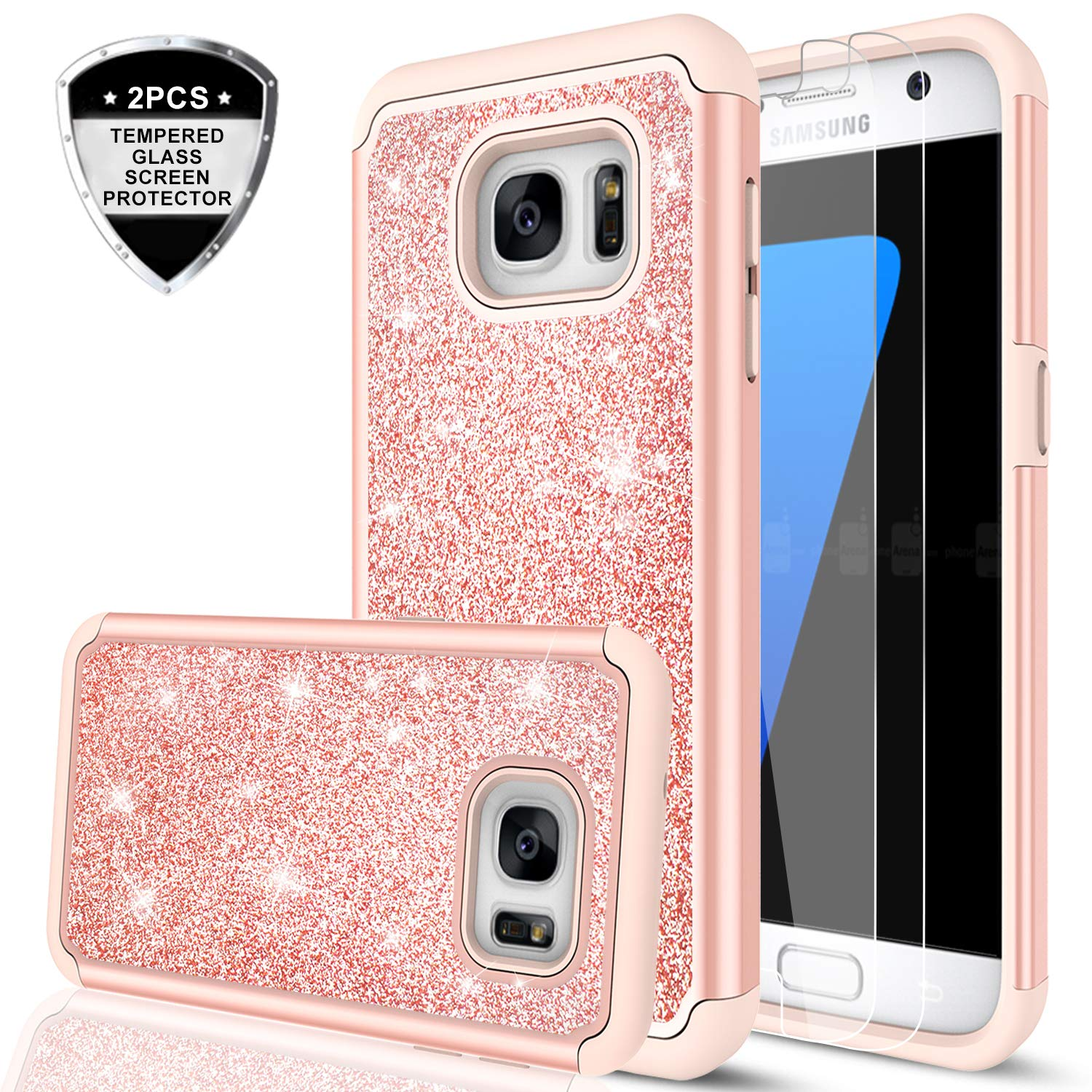 Galaxy S7 Case with Tempered Glass Screen Protector [2 Pack], LeYi Glitter Bling Girls Women [PC Silicone Leather] Dual Layer Heavy Duty Protective Phone Case for Samsung Galaxy S7 (2016) TP Rose Gold 4334976338