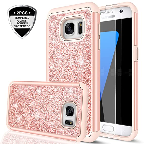 buy online d551e f87a2 Galaxy S7 Case with Tempered Glass Screen Protector [2 Pack], LeYi Glitter  Bling Girls Women [PC Silicone Leather] Dual Layer Heavy Duty Protective ...