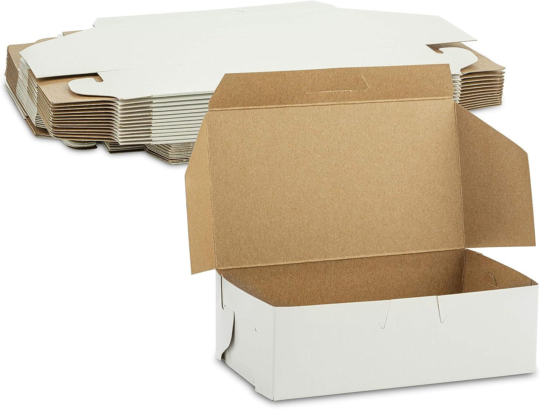 Beautiful White Small Lock Corner Clay Coated Kraft Paperboard Bakery Box No-Window Size 6 1/4