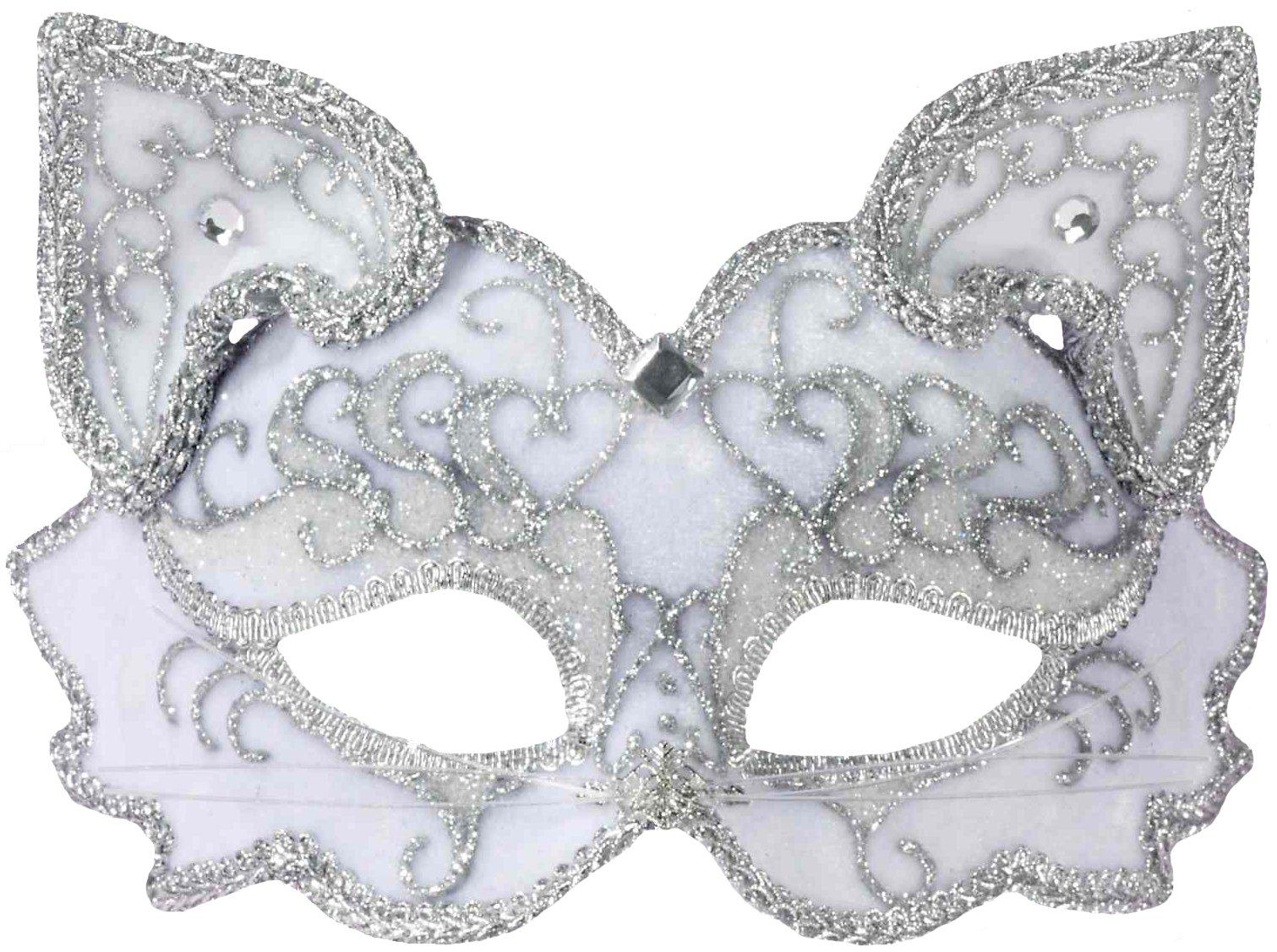 Forum Fancy Cat Style Venetian 1/2 Mask, White/Silver, One Size
