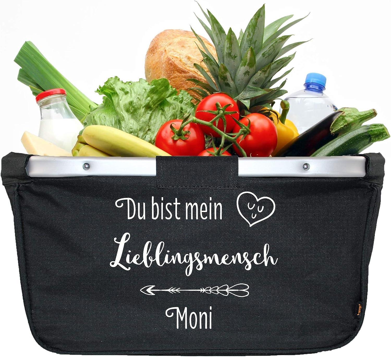 Mein Zwergenland Faltbarer Einkaufskorb mit Namen Lieblingsmensch 28 L schwarz