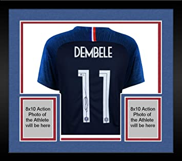 56e4f5c1e Image Unavailable. Image not available for. Color: Framed Ousmane Dembele  France Autographed Nike Navy Jersey - Fanatics Authentic ...