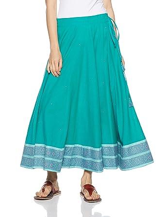 4bf6764d7 Fabindia Women's Full Cotton Maxi Skirt (10460423_Turquoise_Large)