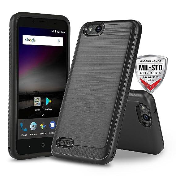 Phone Case for [ZTE ZFIVE G LTE (Z557BL) / ZTE ZFIVE C LTE (Z558VL)],  [Modern Series][Black] Shockproof Cover [Impact Resistant][Defender]  (Tracfone,