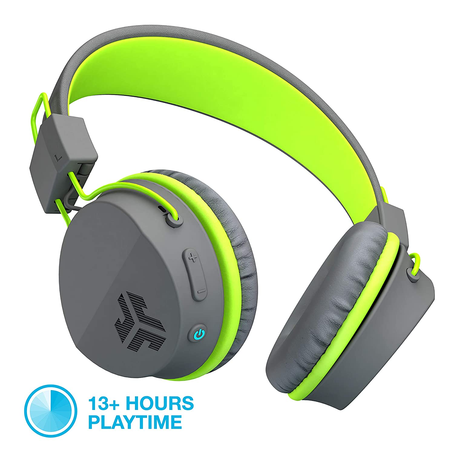 JLab Audio Neon Bluetooth Folding On-Ear Headphones Wireless Headphones 13 Hour Bluetooth Playtime Noise Isolation 40mm Neodymium Drivers C3 Sound Crystal Clear Clarity Graphite Green