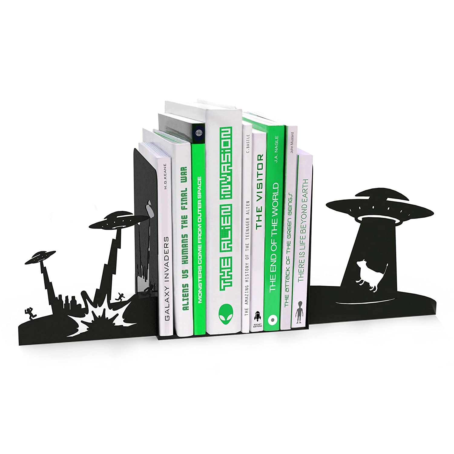 amazon com mustard alien invasion bookends metal bookends with