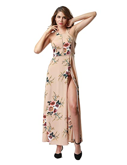 263c0b32a1ca4 Clarisbelle Women's Summer Chiffon Halter Neck Floral Print Backless Split  Beach Party Maxi Dress Apricot X