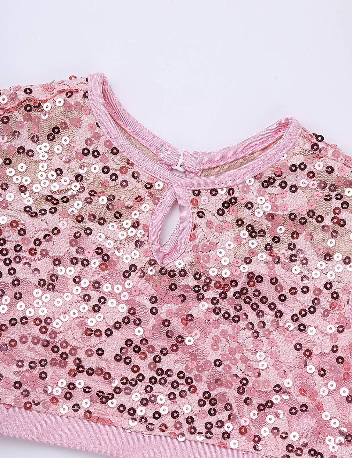 YOOJIA Junior Girls Sequined Lyrical Ballet Dance Bra Crop Tops with Chiffon Skirt Modern Dance Dress Outfit Costume