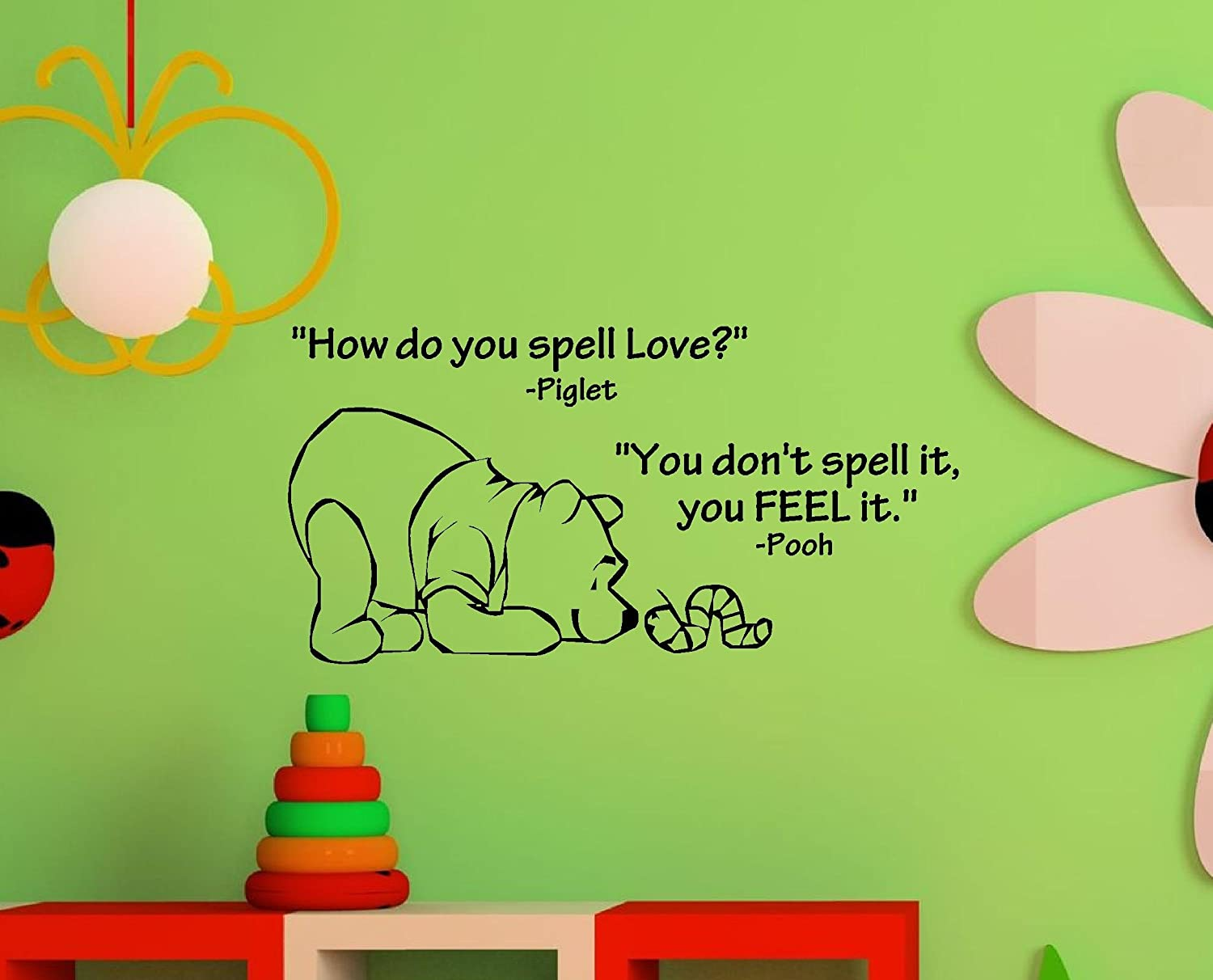 Amazon newsee decals how do you spell love winnie the pooh amazon newsee decals how do you spell love winnie the poohnyl wall art inspirational quotes and saying home decor decal sticker home kitchen amipublicfo Images