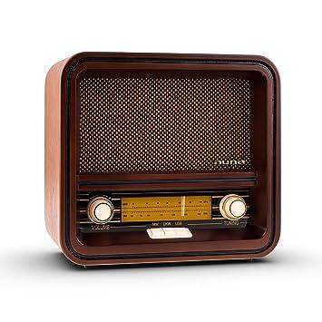AUNA Belle Epoque 1901 - Radio nostálgica , Radio Retro , FM/Am , Banda de Frecuencias iluminada , USB con MP3 , 1,5 W , Cable de Antena , Carcasa de ...
