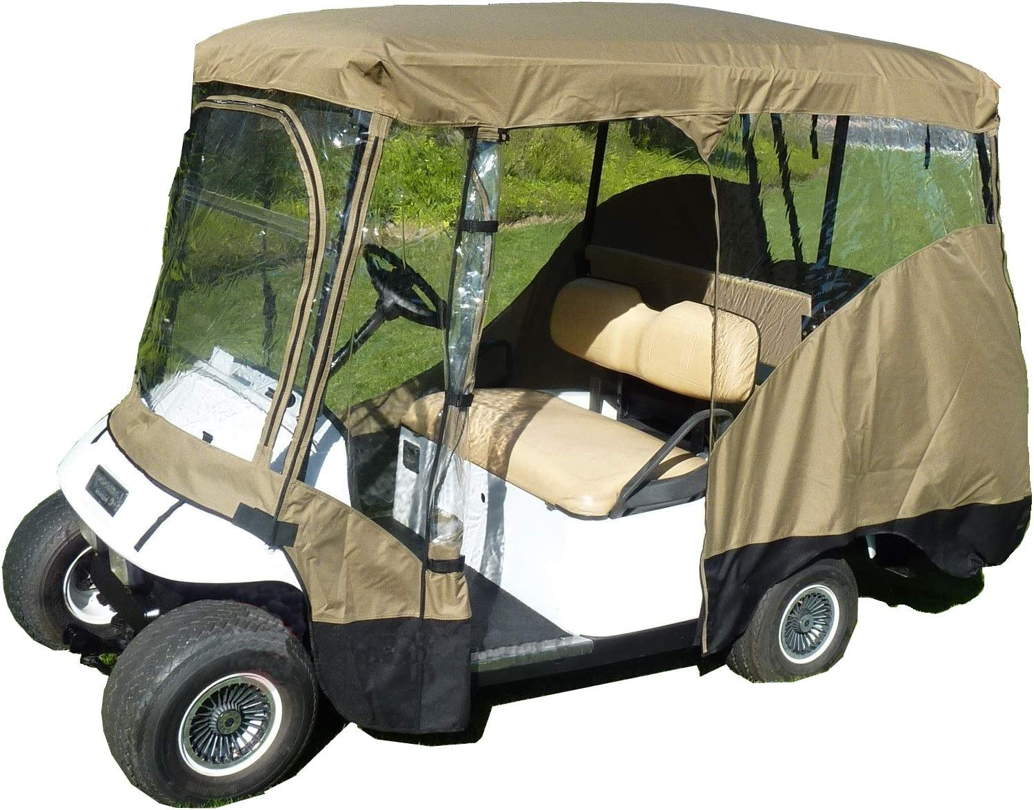 """Premium Tight Weave Golf Cart Driving Enclosure for 4 Passengers roof up to 80"""" L, fits Club car, EZGo and Yamaha G Model - All Weather"""