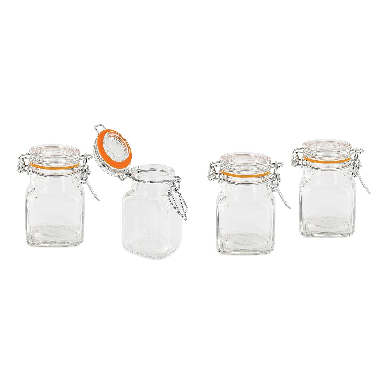 Pick and drink ka1930–Juego de 4tarros cierre hermético cristal transparente 5, 50x 5, 50x 8cm CMP Paris