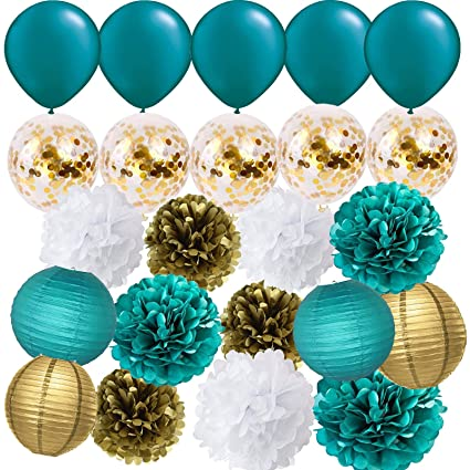 Teal Gold And Confetti Latex Balloons Tissue Pom Poms Lanterns Baby Shower Wedding Bridal