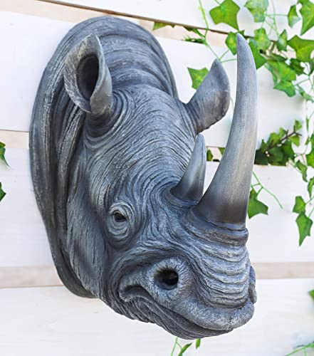 Ebros Realistic Safari Black Rhino Wall Plaque 14.5″ Tall Taxidermy Rhinoceros Art Wall Decor Sculpture Savanna Wildlife Statue Monolith Pachyderm Asian African Rhinos Animal