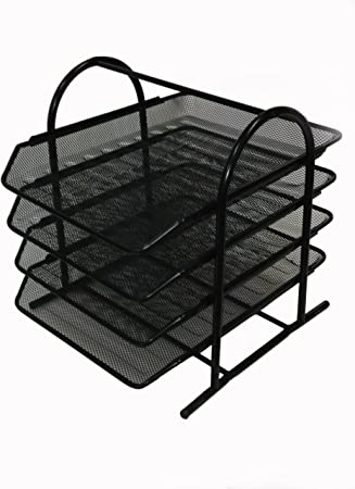 Buddy Products Mesh 4 Tier Letter Tray 13 8 X 11 8 X 12 3 Inches Black Zd018 4 Office Desk Trays Office Products