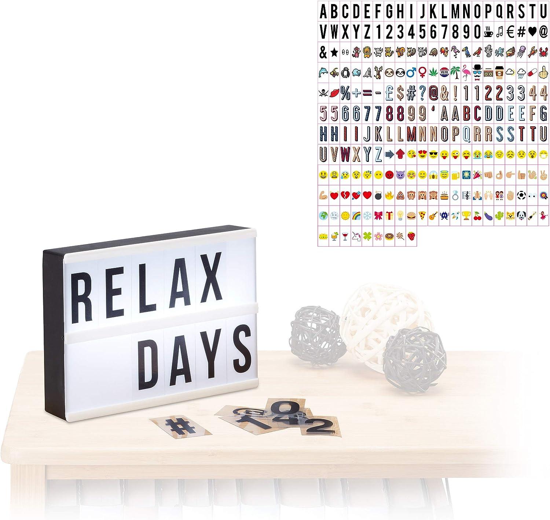 Relaxdays Pack Caja de Luz Led con 300 Letras, Símbolos y Cifras ...