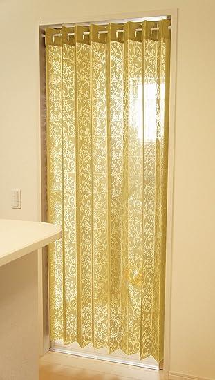 150×200cm丈 冷気遮断 アコーディオン 遮熱 のれん カーテン 目隠し 間仕切り アラベスク (カラシ)