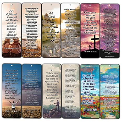 83640c6aa092 Christian Bookmarks Cards with Popular Inspirational Bible Verses - 6  Unique Designs (Pack of 12)