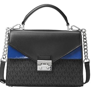 f00c57ed99f8 MICHAEL Michael Kors Sloan Medium Signature Leather Satchel, Black Blue