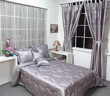 rideaux couvre lit ENSEMBLE DÉCO 9 PIÈCES Satin Gris/Argent* Couvre Lit Matelassé 2  rideaux couvre lit