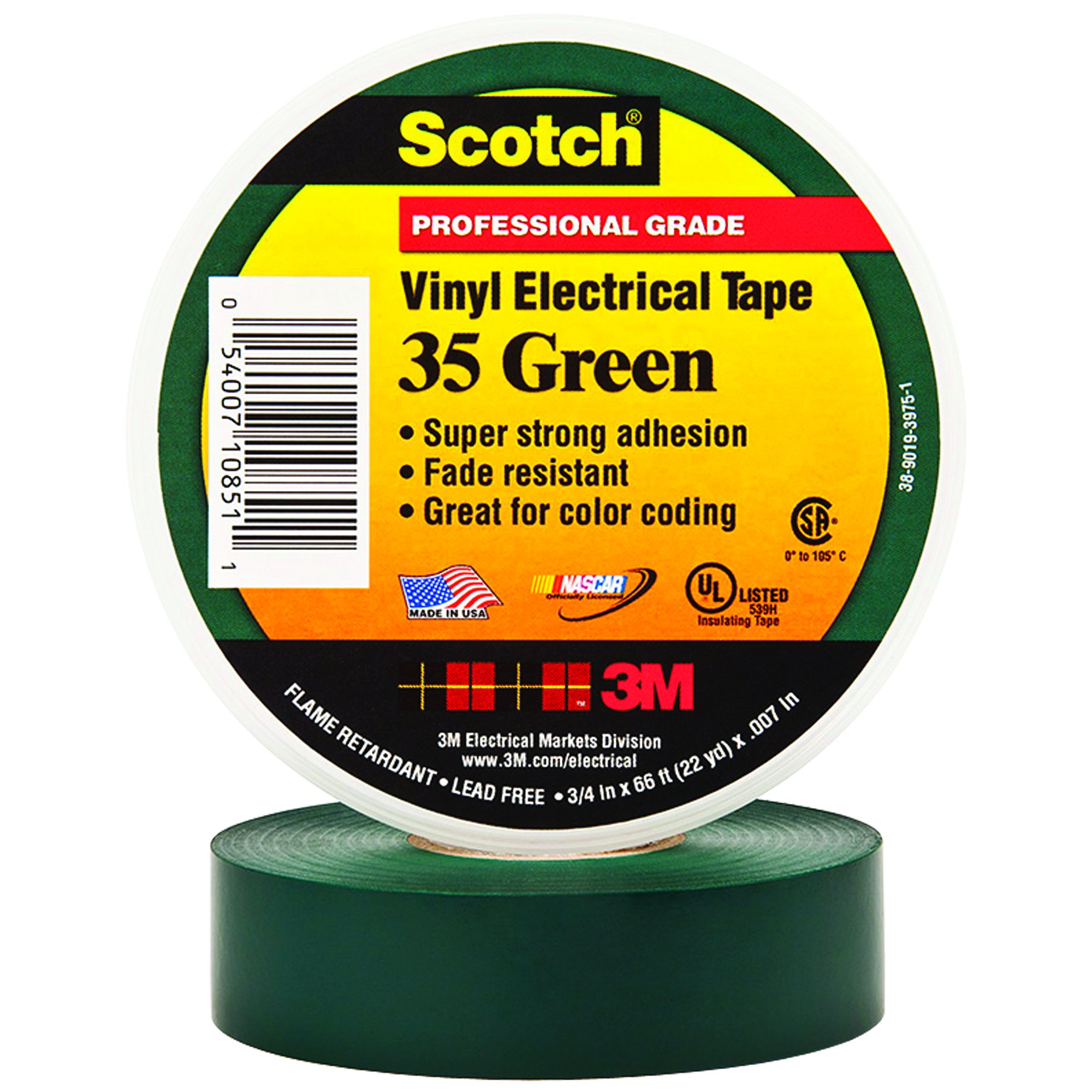 BOX USA BT964035G Green 3M 35 Electrical Tape, 7 mil, 3/4'' x 66' (Pack of 100) by BOX USA